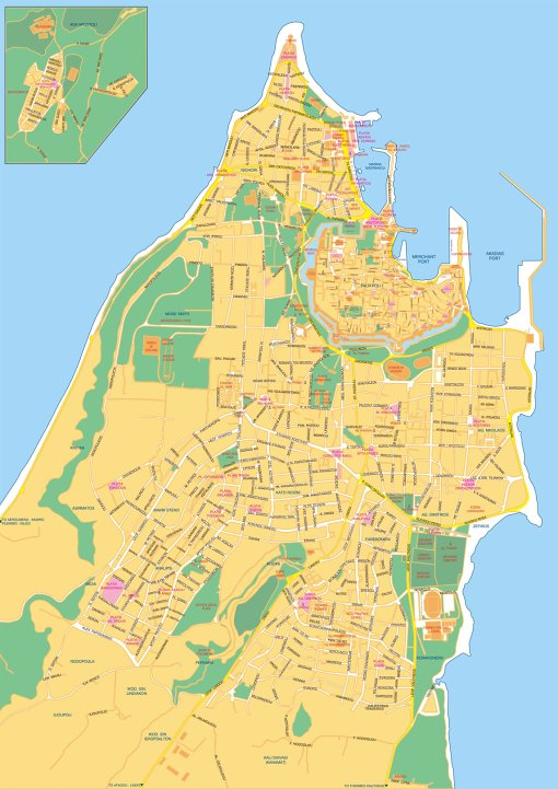 Mapa města Rhodos